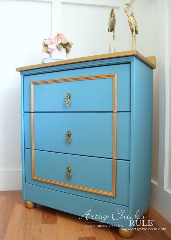 Home Design Hacks - DIY Royal Blue and Gold IKEA Rast Drawers Hack
