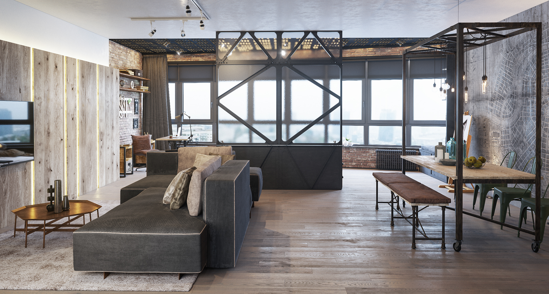 Simple Tricks To Give Your Living Room The Industrial Aesthetic
