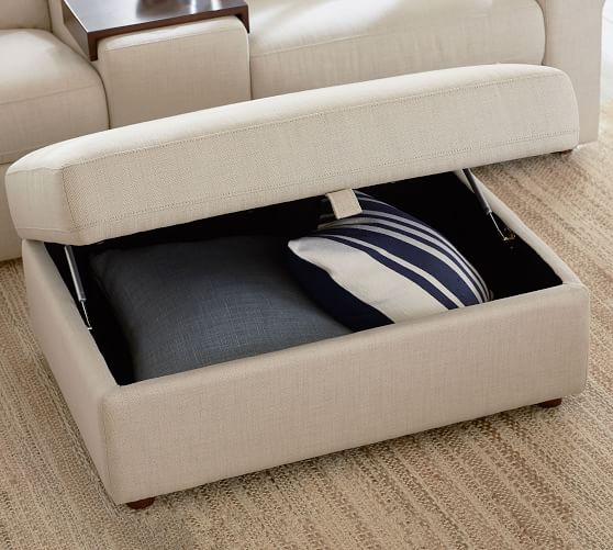 This ottoman has a hidden compartment and functions as a storage box. Storage ottomans are common nowadays.