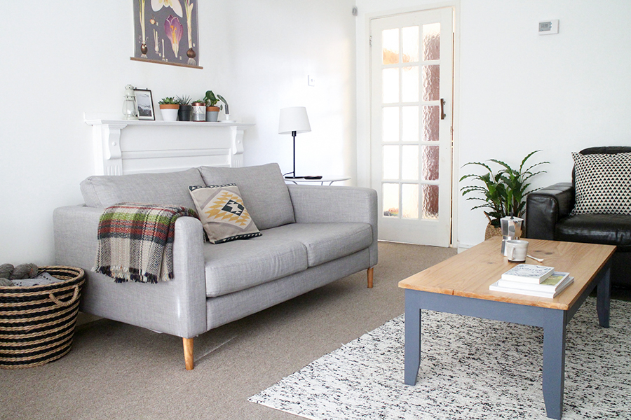 Upholstering with natural fabrics are great for rustic looks. The creases really give it a lived-in feel.