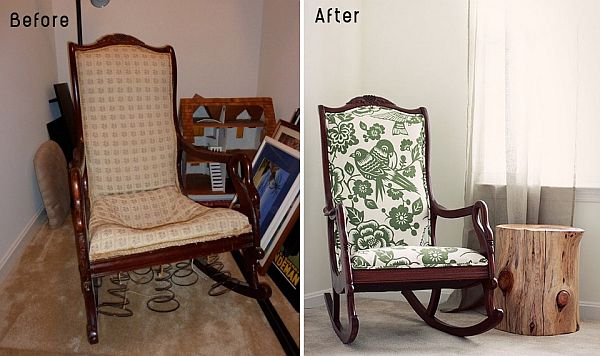 This broken down old chair has been restored an looks new after reupholstering it.