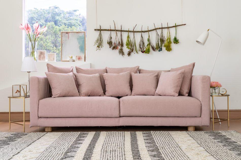 IKEAストックホルムソファにコンフォートワークスで作ったソファカバーをかけました。生地は綿100%のMadison Rose。