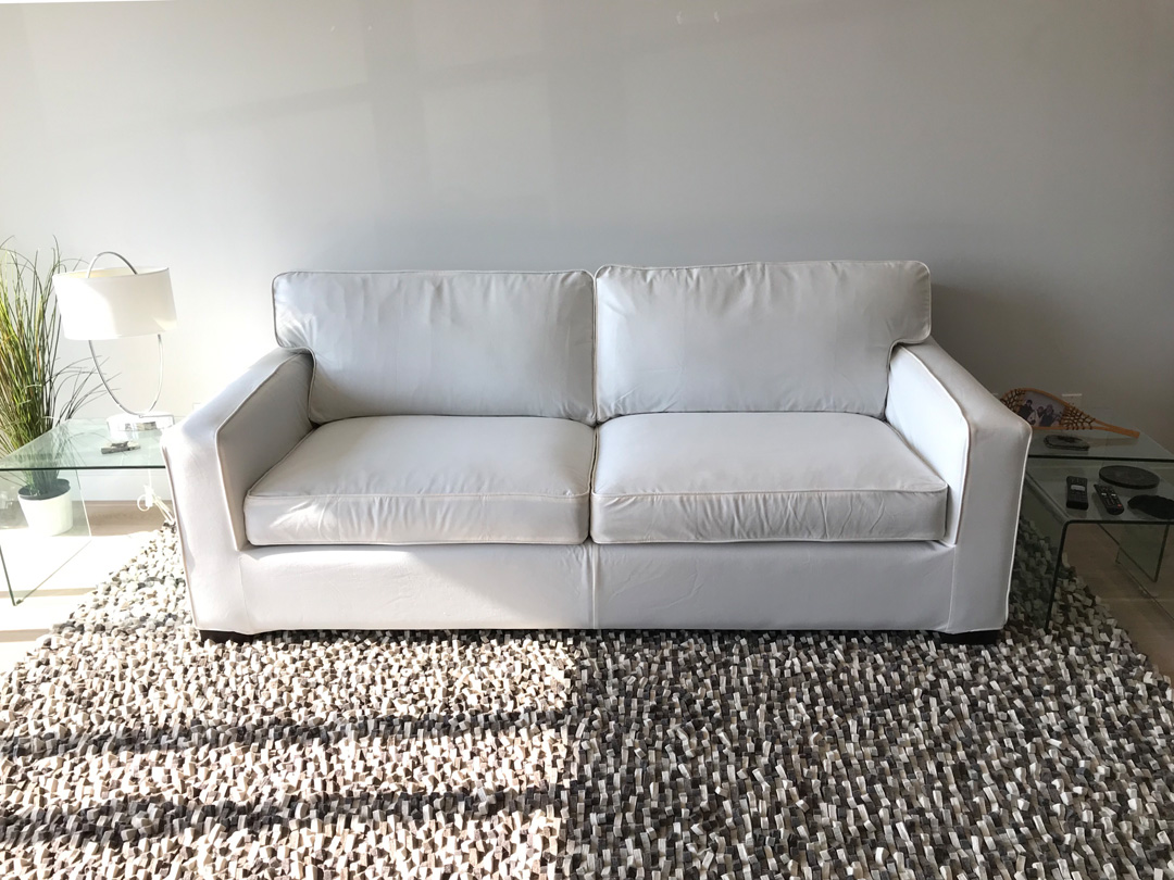 White cotton sofa cover for Crate & Barrel Axis II