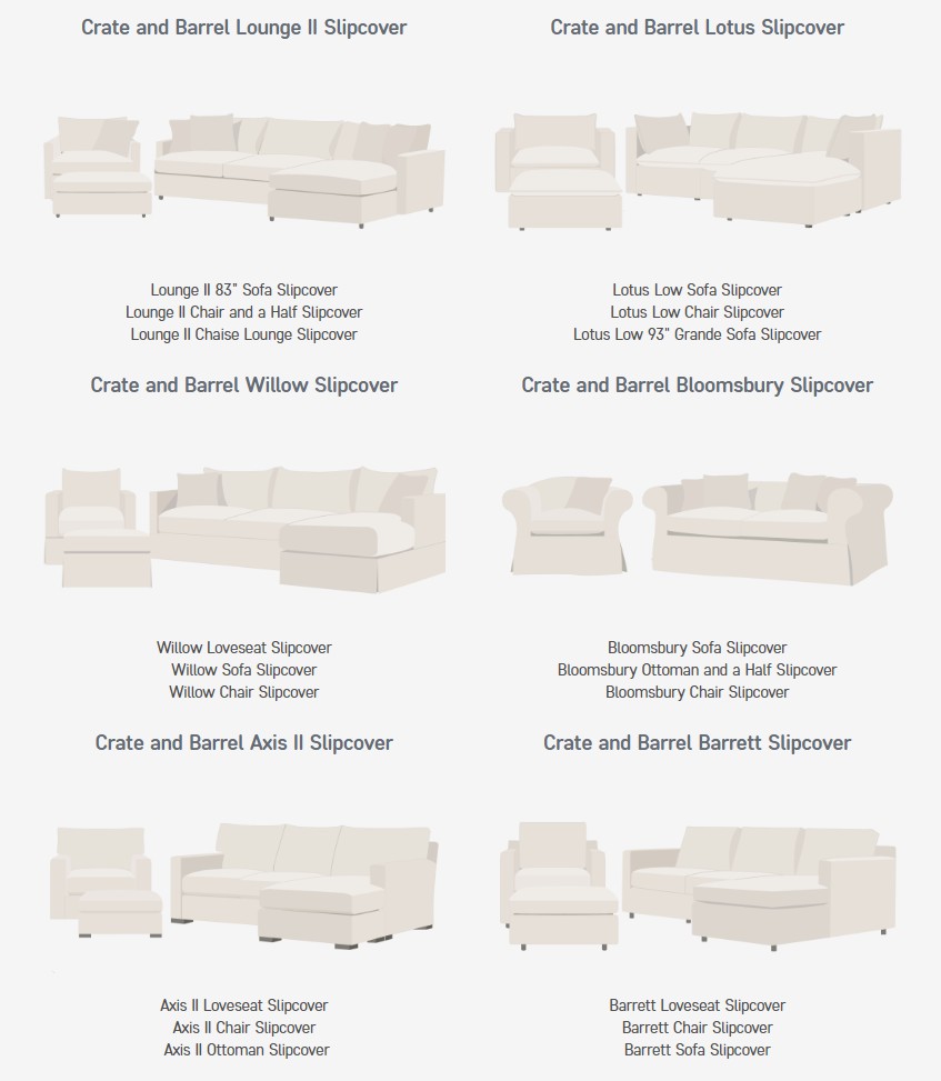 Crate & Barrel sofa models that can be slipcovered