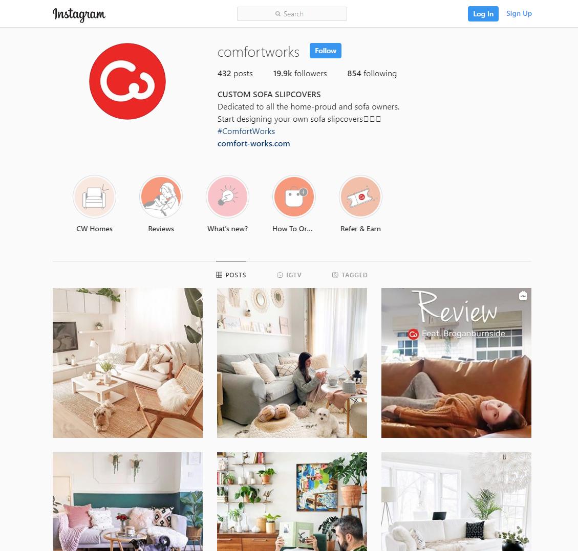 Comfort Works Instagram page