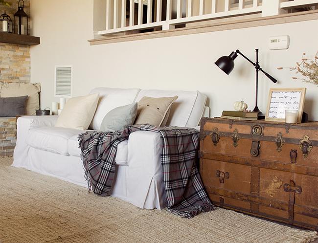 shabby chic linen sofa
