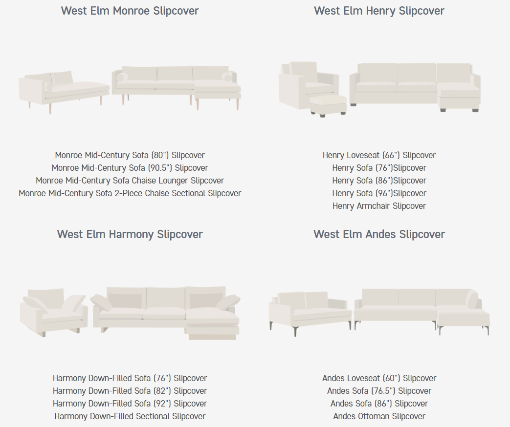 West Elm Sofas that Comfort Works Slipcovers