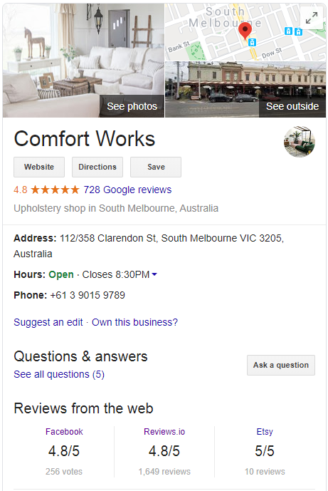 Comfort Works reviews on Google, Facebook, Reviews.io and Etsy