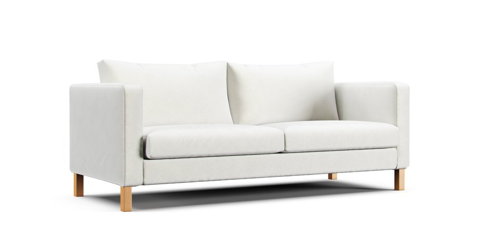 IKEAのKarlstad・カルルスタード3人掛けに猫の爪とぎに耐久性のあるソファカバーを取り付けませんか?生地はスクラッチプルーフクリームです。