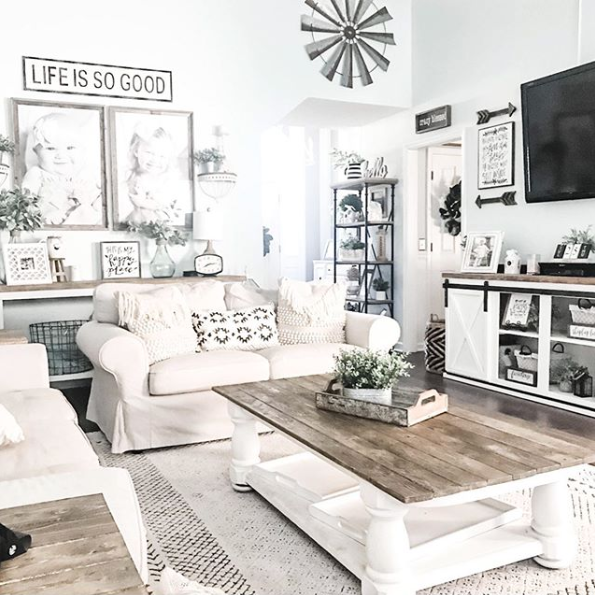 the farmhouse look is probably the most popular living room look there is