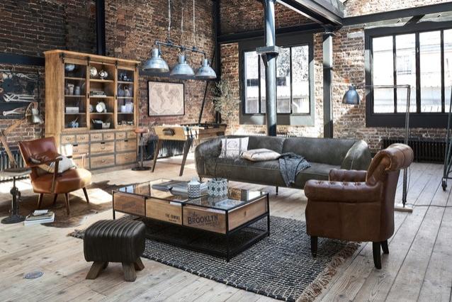 Industriell gestaltete Wohnzimmer sind einzigartig und bieten eine Ästhetik von Arbeit trifft Wohnen