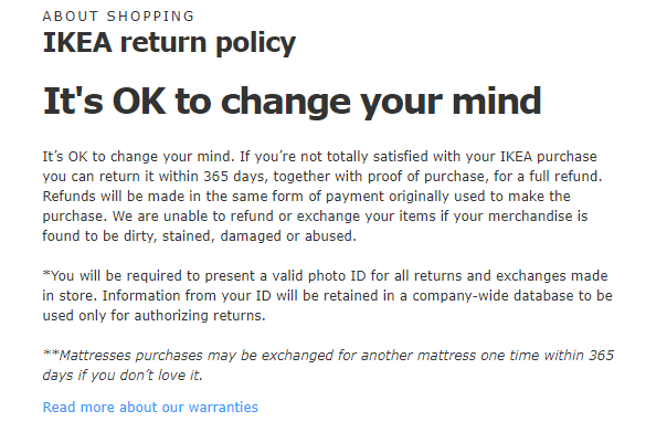 IKEA's return policy