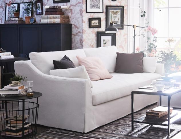 IKEA Farlov with white slipcovers