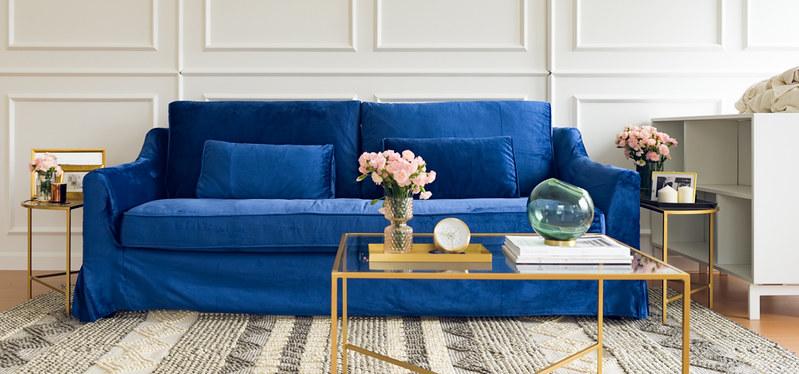 Farlov slipcovered in Comfort Works classic velvet indigo slipcovers