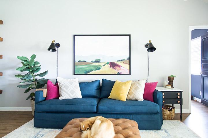 Crate & Barrel slipcovered sofa in blue slipcover