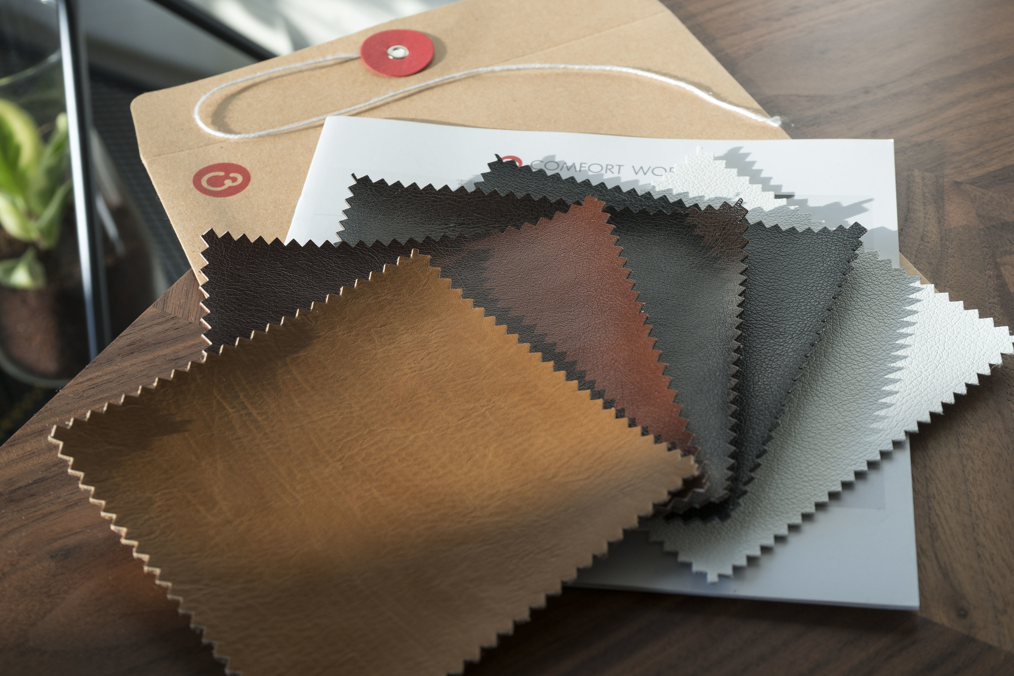 Different swatches of leathers.