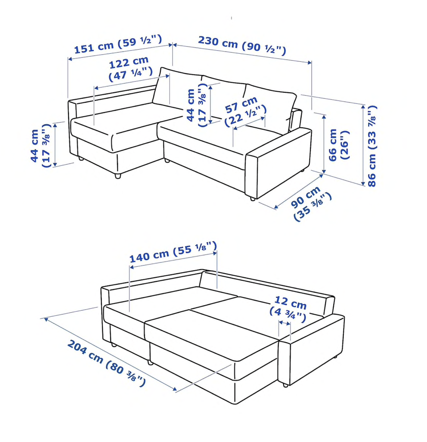 IKEAのフリーヘーテンコーナーソファベッドはソファとしても寝椅子としても、ダブルベッドとしても快適なサイズ感が魅力