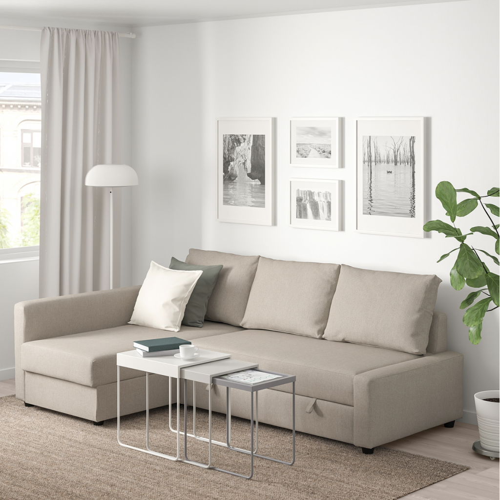 IKEAのフリーヘーテンコーナーソファベッドはシンプルで洗礼されたデザインは飽きのこない見た目と高評価です。