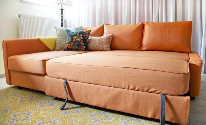 IKEA Friheten in custom orange slipcovers