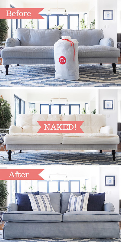 before and after putting on slipcovers on an IKEA Stocksund couch