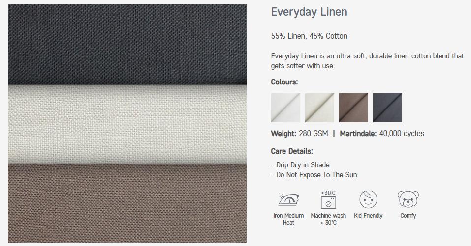 Notre gamme de tissu Everyday Linen (ou Mélanges de lin)