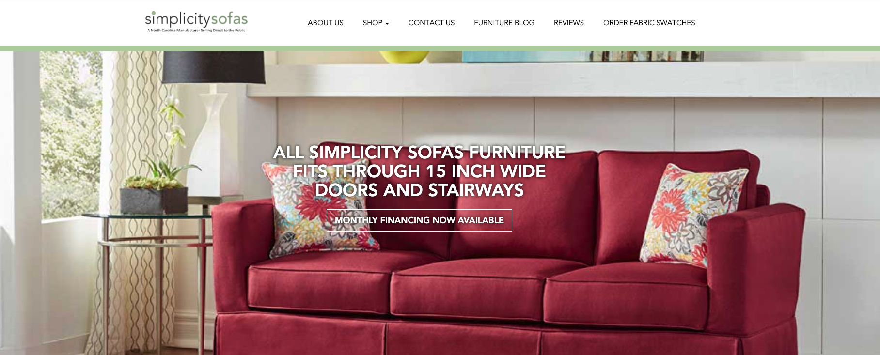 homepage of simplicity sofas