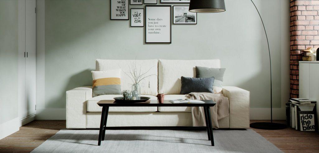 白いソファだと汚れが不安という方も丸洗いできるコンフォートワークスのソファカバーなら問題ありません。