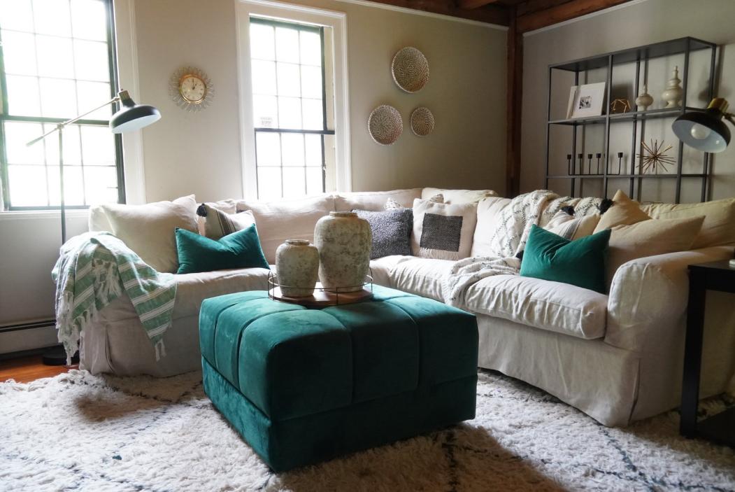 Rustic farmhouse sectional sofa in a farmhouse living room