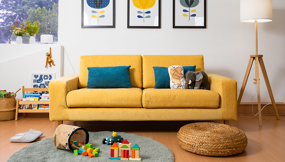 Here's how to get a water and stain resistant performance fabric sofa - with a slipcover