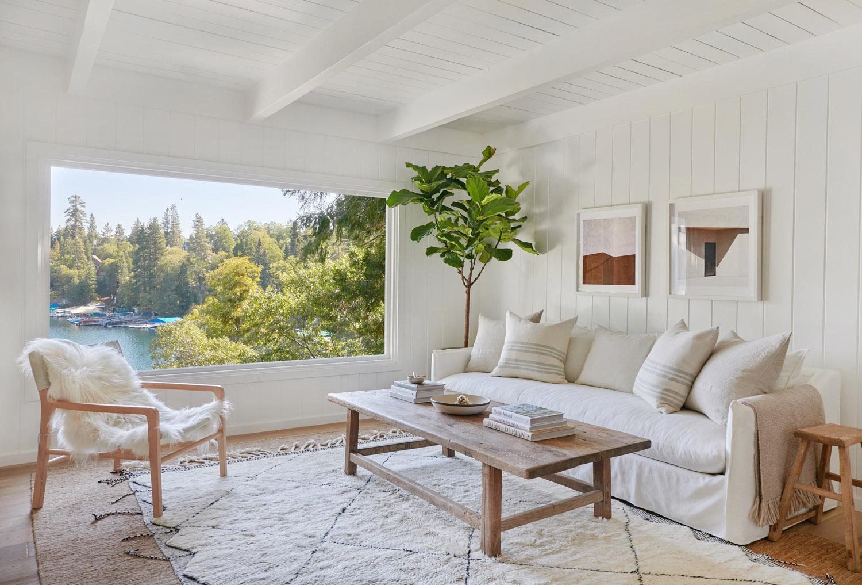 Countryside linen farmhouse sofa