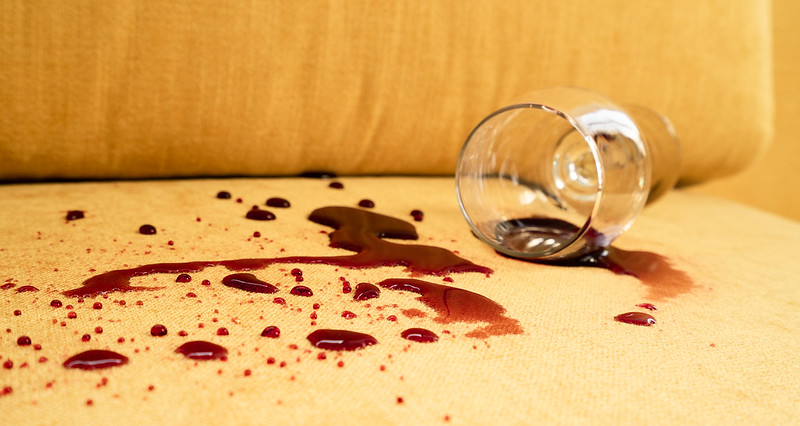 red wine spill not seeping into couch fabric