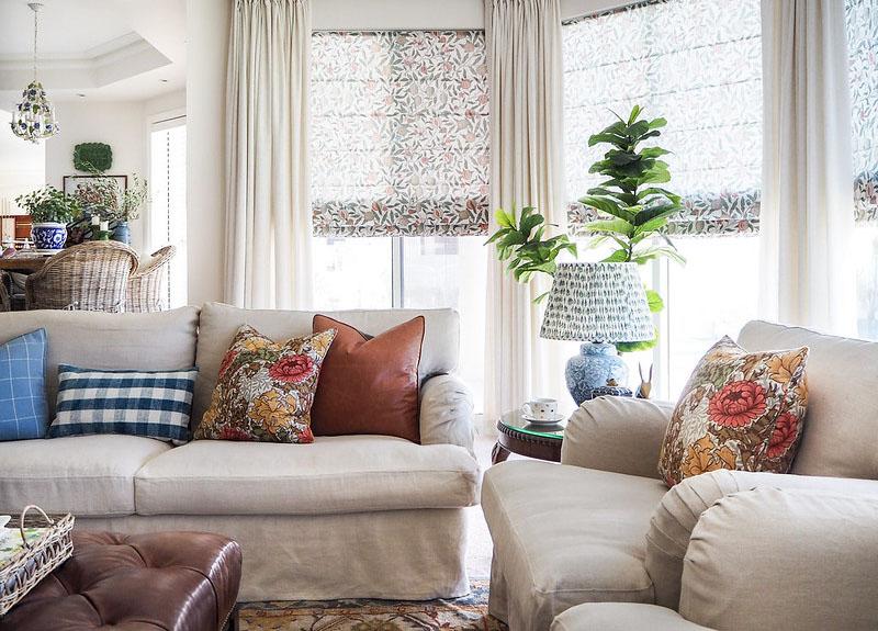 herbstliche Farben in einem modernen Landhausstil Wohnzimmer