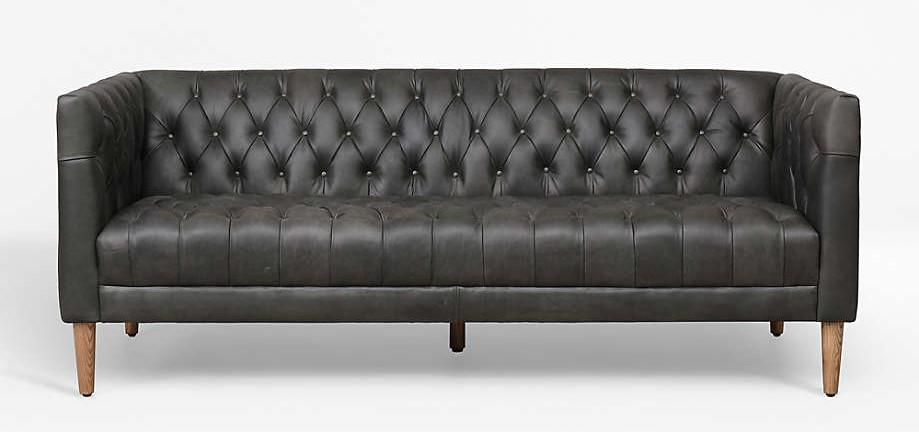 Crate and Barrel Rollins Ebony Leather Sofa