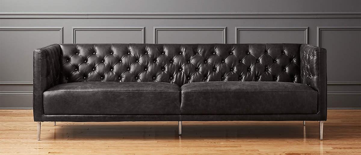 CB2 Savile Leather Tufted Sofa in Bello, Black