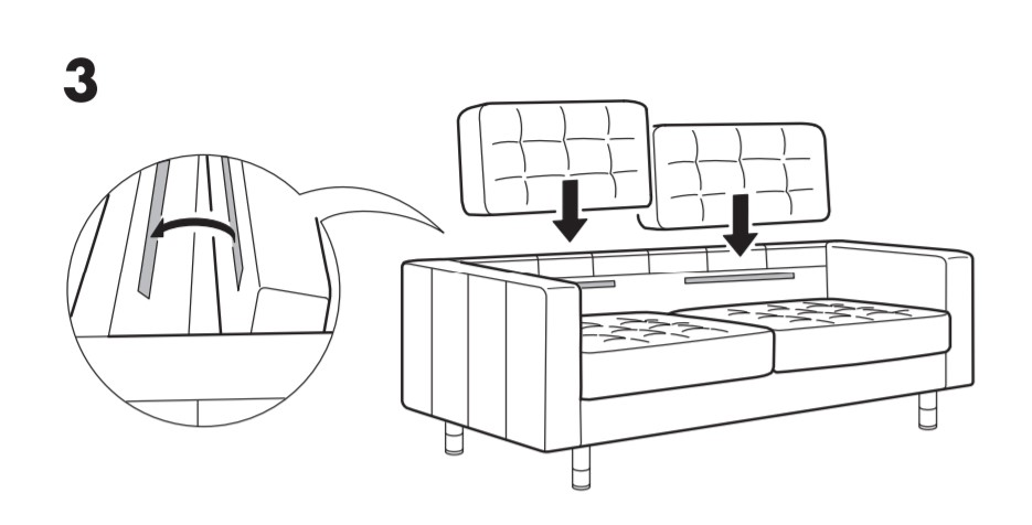 IKEA Morabo assembly guide showing velcro on backrest and back cushions