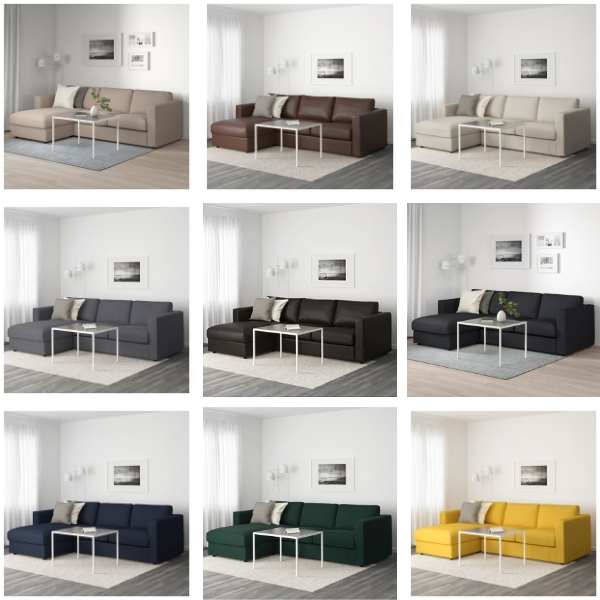 Vimle sofa color options