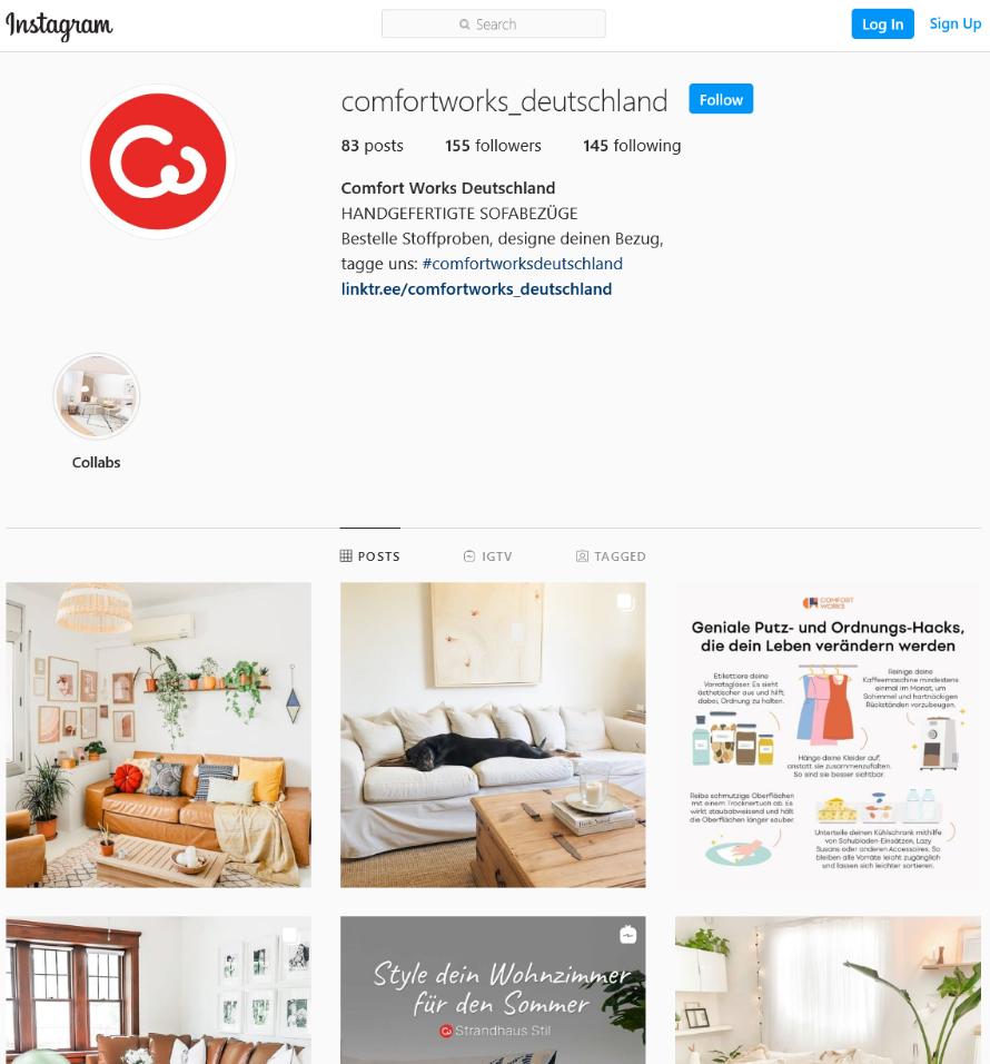 Instagram Comfort Works Deutschland