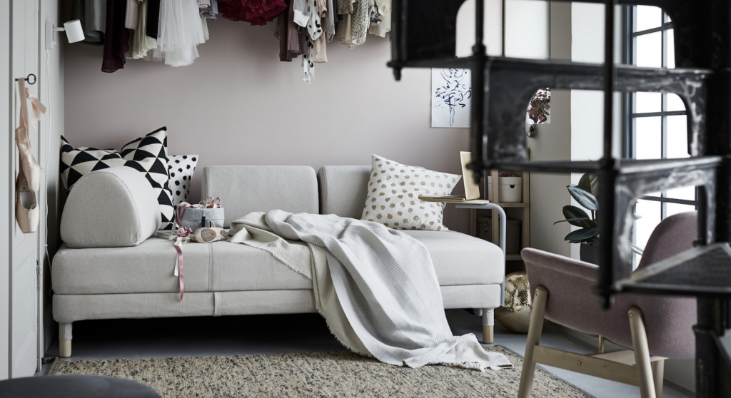 IKEAのフロッテボーはシンプルな構造かつ収納機能もあるおすすめのソファベッドです。